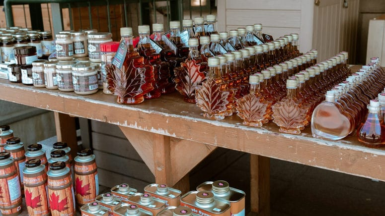 large number of maple syrup bottles