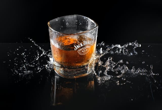 glass of Jack Daniels Tennessee Whiskey with ice