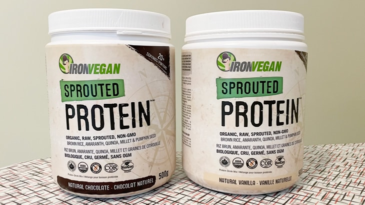 2 flavors of iron vegan sprouted protein