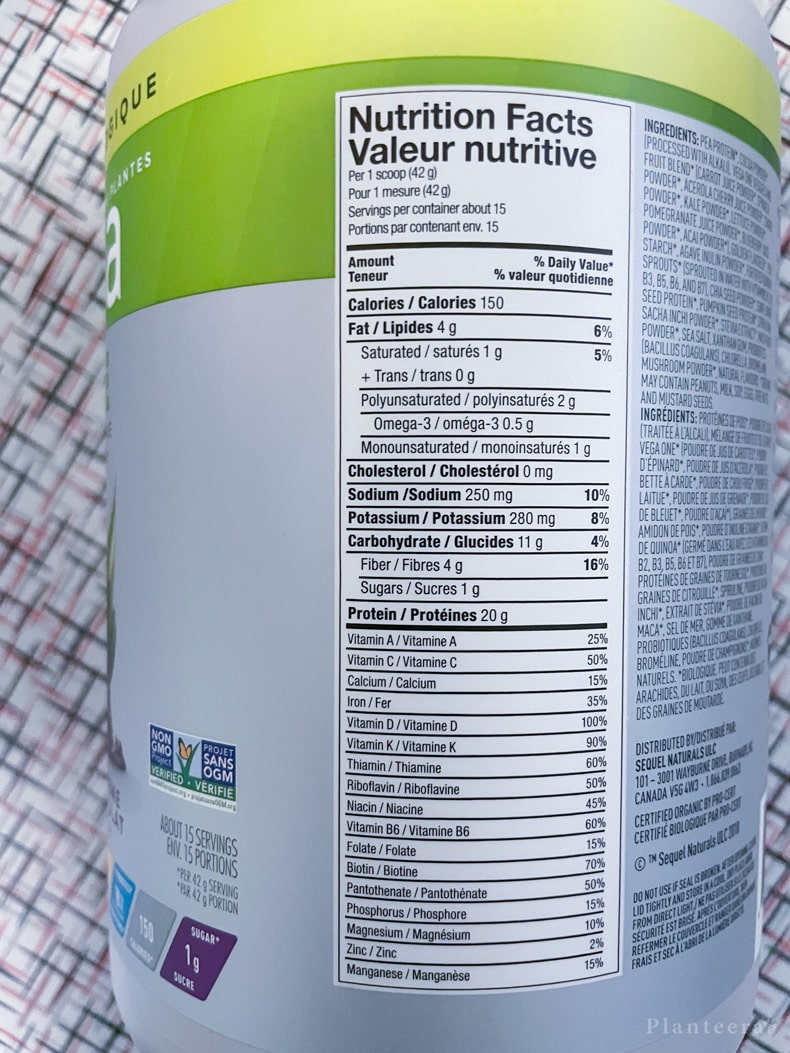 Vega One nutrition facts