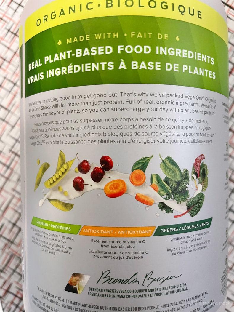 Vega One vegetables and greens ingredients