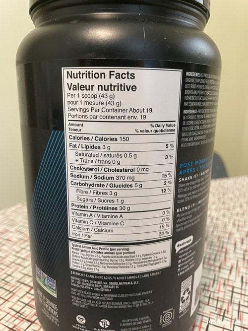 Vega Sport Protein ingredients